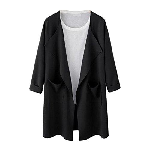 Price comparison product image Women Fashion Jacket Ladies Causal Open Sweatshirt Long Coat Fashion Outwear Cardigan by ManxiVoo (L, Black)