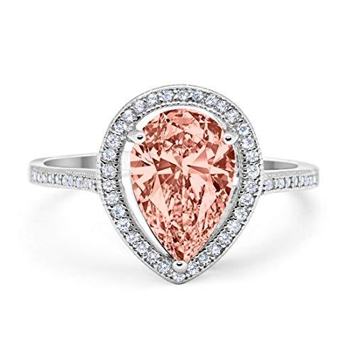 Teardrop Pear Simulated Morganite Bridal Ring Rose Tone 925 Sterling Silver, Size-9 ()
