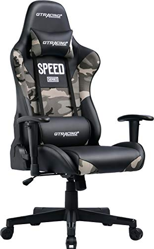 GTRACING Camouflage Gaming Chair Computer Racing Chair PU &Fabric High Back Backrest and Height Adjustable E-Sports Ergonomic Chair with Pillows GT000 (Black/Camo)