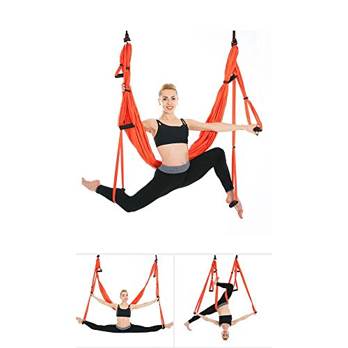 Alger Anti multifonctionnel de yoga de vol d'air de conditionnement physique multifonctionnel de hamac de volant aucune élasticité, 250 * 150cm , Orange
