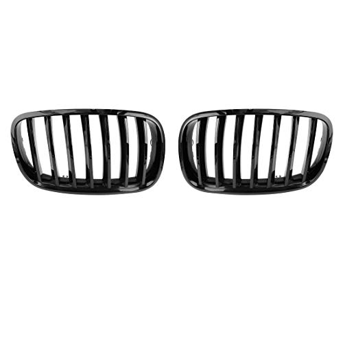 (uxcell 2pcs Glossy Black Front Hood Kidney Grille Grill for 07-13 BMW E70 X5 E71 X6)