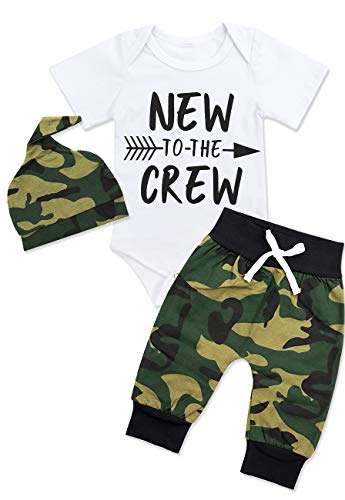 Newborn Baby Boy Clothes New to The Crew Letter Print Romper+Long Pants+Hat 3PCS Outfits Set 3-6 ()