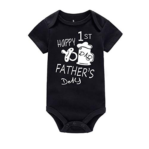 WINZIK Happy 1st Father's Day Baby Bodysuit Romper Outfit Clothing Newborn Infant Boy Girl One-Piece Jumpsuit Shirt (6 Months, Black-Pacifier) (Christmas 1st Creeper Infant)