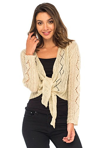 Back From Bali Womens Cable Knit Shrug Bolero Long Sleeve Boho Cardigan Tie Front Natural Cream - Shrug Cable