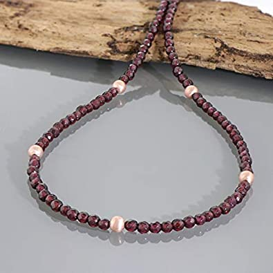 Gemshiner Collar de Perlas de Plata esterlina chapada en Oro Rosa con Granate Natural Collar de Piedras Preciosas Naturales Collar de Cuentas de Plata esterlina 925 Collares de Regalo para