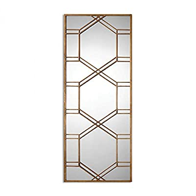 Uttermost Kennis Gold Leaf Leaner Mirror Model-13922 - Finish: Antiqued Gold Leaf, Lenght: 1.50in, Width: 29.00in, Height: 70.00in. From Uttermost - mirrors-bedroom-decor, bedroom-decor, bedroom - 41fGgZmWI6L. SS400  -