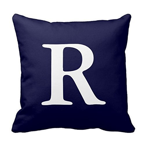 - Decors Navy Blue White Monogrammed R Decorative Pillow Covers Personalized Custom Pillowcases