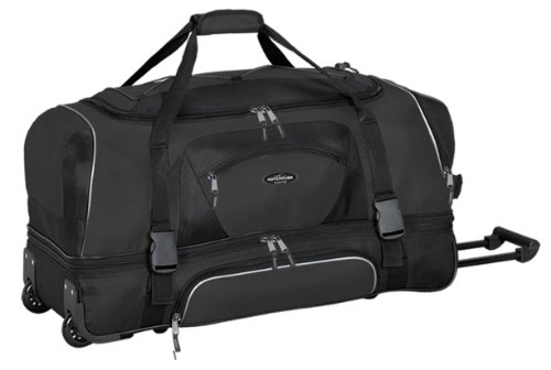 """Travelers Club 30"""" ADVENTURE Double Packing Compartment Rolling Duffel, Black Color Option"""