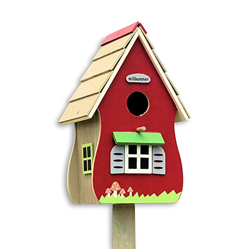 The Willkommen Birdhouse, Retro Hut-Style Garden Stake, Rustic Red, Painted Details, Plywood, 6 L x 4 ¾ W x 45 ¼ H By Whole House - Hut Style