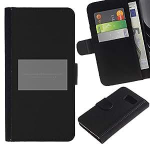 LASTONE PHONE CASE / Lujo Billetera de Cuero Caso del tirón Titular de la tarjeta Flip Carcasa Funda para Samsung Galaxy S6 SM-G920 / Poster Grey Black Minimalist Text