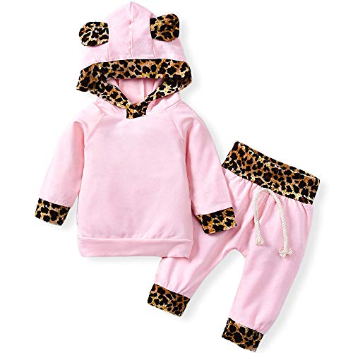 Newborn Infant Baby Girls' Pink Leopard Hoodie T-Shirt Top + Pants Outfits Set 2Pcs (Pink, 0-3Months)