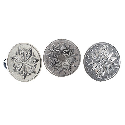 Nordic Ware 01270 Starry Night Cast Cookie Stamps, 3-inch rounds, Silver