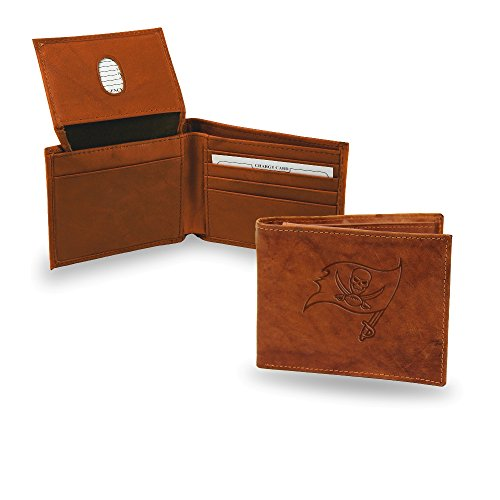 (Rico Industries NFL Tampa Bay Buccaneers Men's Embossed Genuine Leather Billfold Wallet, 4.5 x 3.5, Brown)