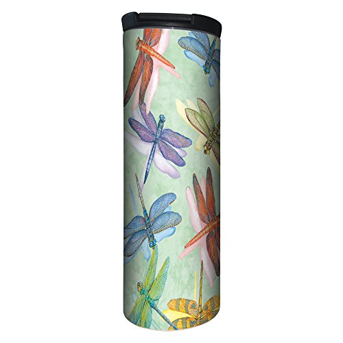 Tree-Free Greetings BT20500 Barista Tumbler Vacuum Insulated, Stainless Steel Travel Coffee Mug/Cup, 17 Ounce, - Dragonfly Mug Travel