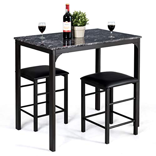 Giantex 3 Pcs Dining Table and Chairs Set with Faux Marble Tabletop 2 Chairs Contemporary Dining Table Set for Home or Hotel Dining Room, Kitchen or Bar Black