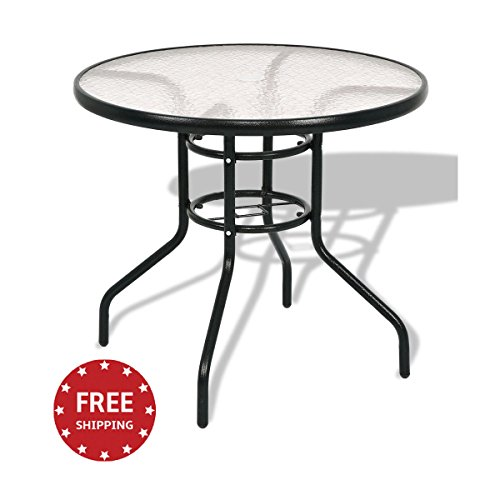 jn.widetrade Round Outdoor Bistro Table Metal Steel Frame with Glass Table Top for Backyard Swimming Pool side Decor Small Patio & e-book by by jn.widetrade