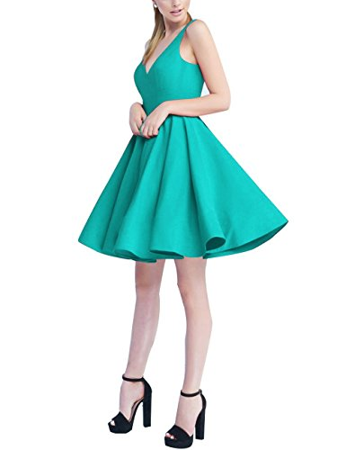 Short Homecoming Dresses 2018 A-Line V Neck Cocktail Prom Gowns for Women Satin Turquoise 16 ()