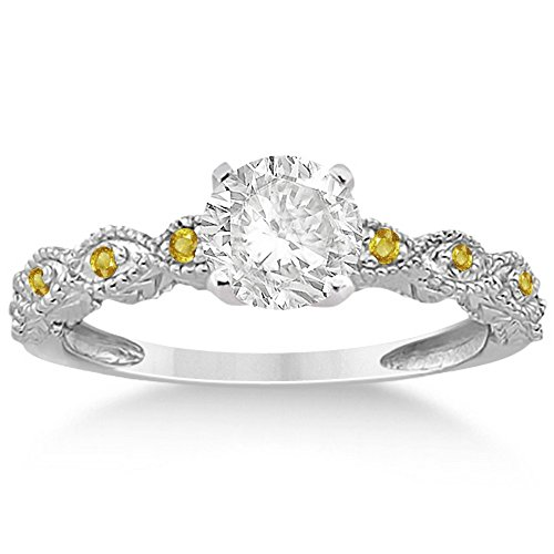 Antique Filigree Petite Marquise Brilliant Yellow Sapphire Engagement Ring Palladium (Palladium Yellow Ring)