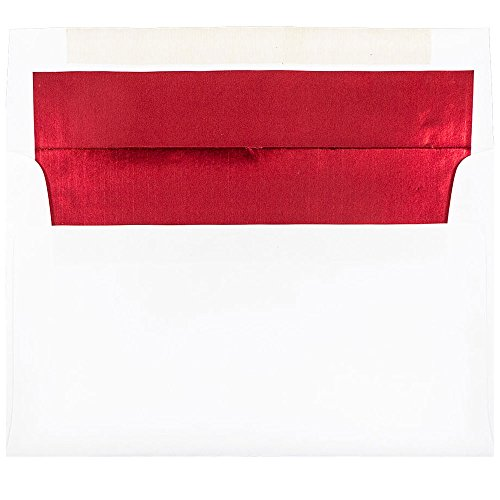 (JAM PAPER A9 Foil Lined Invitation Envelopes - 5 3/4 x 8 3/4 - White with Red Foil - 50/Pack)