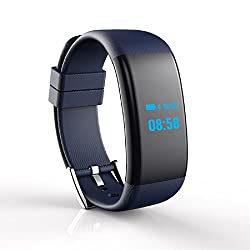 Teamyo DF30 OLED Bluetooth Smart Watch GSM with Camera Fitness Band For Android/IOS (Dark Blue)
