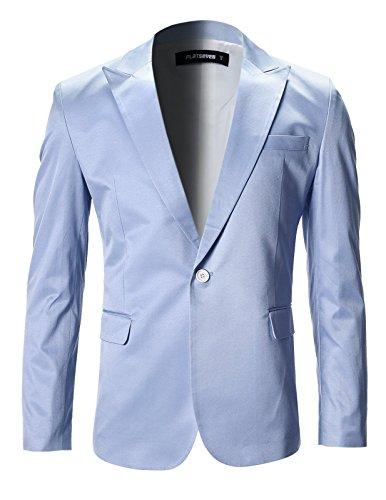 FLATSEVEN Mens Slim Fit Stylish Peaked Lapel Blazer Jacket (BJ200) LightBlue, M ()