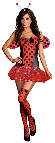[GTH Women's Light Me Up Ladybug Party Outfit Fancy Dress Sexy Costume, XL (14-16)] (Light Me Up Ladybug Dress Costumes)
