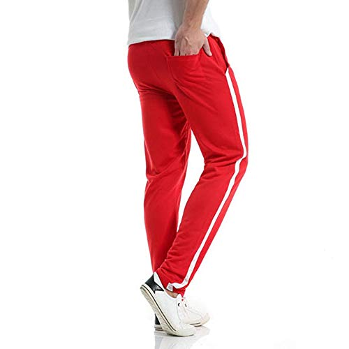Mens Casual Spring Summer Solid Zipper Pocket Calf-Length Sports Pants Trousers