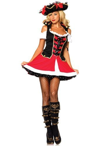 Leg Avenue Women's Aye Aye Admiral Costume, Black/Red, (Admiral Adult Costumes)