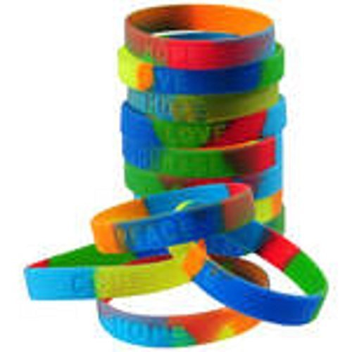 Assorted Sayings Rainbow Stretchy Rubber Band Bracelets (12) ()