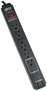 Black 8ft Cord Right Angle Plug Tel//Modem//Coax Protection Tripp Lite 12 Outlet Surge Protector Power Strip 2 USB Charging Ports Lifetime Insurance and $150K Insurance