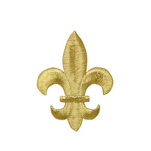 Large - Gold - Fleur De Lis - Iron on Embroidered Patch Applique ()