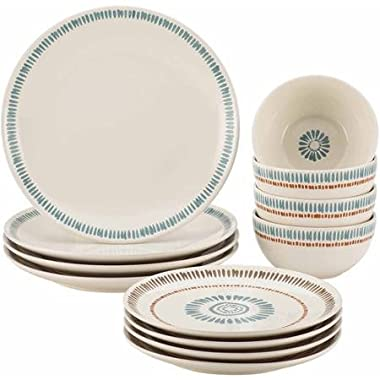 Rachael Ray Cucina Sun Daisy 12-Piece Stoneware Dinnerware Set Dinner Salad Plates Bowls