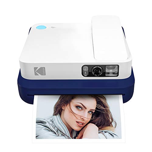 Kodak Smile Classic Digital Instant Camera with Bluetooth (Blue) 16MP Pictures, 35 Prints Per Charge – Includes Starter Pack 3.5 x 4.25 Zink Photo Paper, Sticker Frames Edition