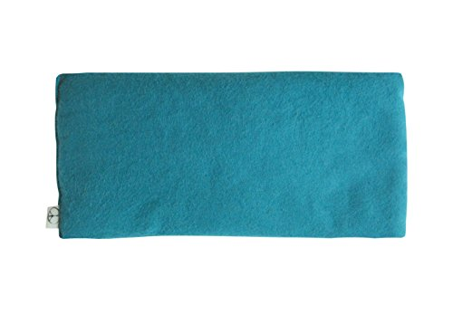 Flax Eye Pillow (Yoga Unscented Organic Flax Seed Eye Pillow - Soft Cotton Flannel 4 x 8.5 - teal green turquoise blue)