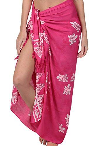 INGEAR Long Batik Print Sarong Womens Swimsuit Wrap Cover Up Pareo (Pink Turtle) ()