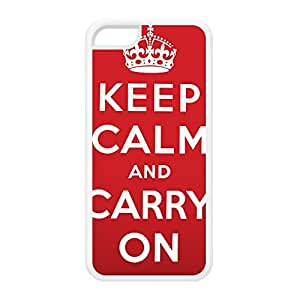 Keep calm and carry on White Silicon Rubber Case for iPhone 5C by Nick Greenaway + FREE Crystal Clear Screen Protector wangjiang maoyi