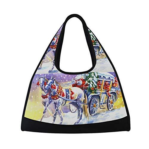 LORVIES Santa Claus With Horse Duffle Bag Shoulder Handy Sports Gym Bags Tennis Badminton Racket Bag for Men and Women
