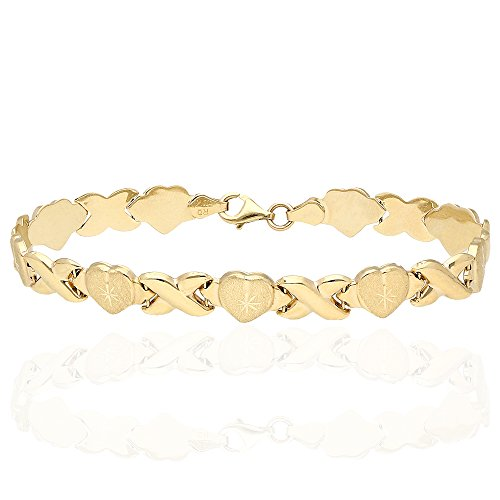 Diamond Cut Heart Link Bracelet - 10k Yellow Gold Diamond Cut