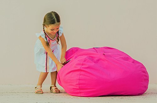 T-Bugs Best Stuffed Animal Storage Bean Bag Chair, Premium Cotton Canvas Toy Organizer for Kids Bedroom, Perfect Storage Solution for Plush Toys, Blankets, Towels & Clothes (38″, Pink)