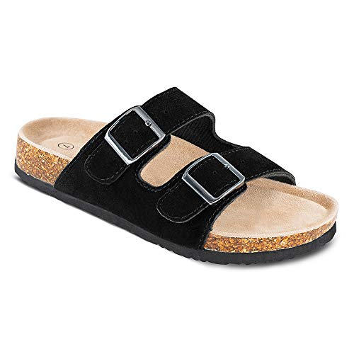 TF STAR Women's Arizona Cow Suede Leather Flat Sandals,2-Strap Adjustable Buckle,Casual Slippers,Slide Cork Footbed Shoes for Women/Ladies/Girls Black ()