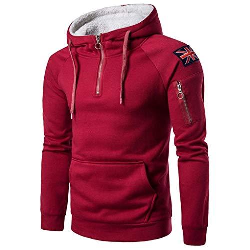 Hommes Rouge Côtelé Manteau shirt Pocket Jacket Amlaiworld Turn Tops Sweat Outwear Down Velours Manche En Pullover Collar Longue Capuche ❤️sweatshirt With À dSqwd