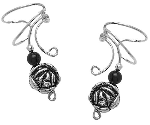 Graceful Long Wave Ear Cuff pair of Non-pierced Wrap Earring with Black Onyx & Pewter Flower on Sterling Silver