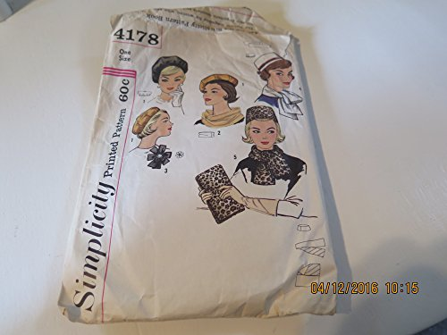1960s Pillbox Hat Beret Scarves Bag Rosette Simplicity 4178 Vintage Sewing Pattern