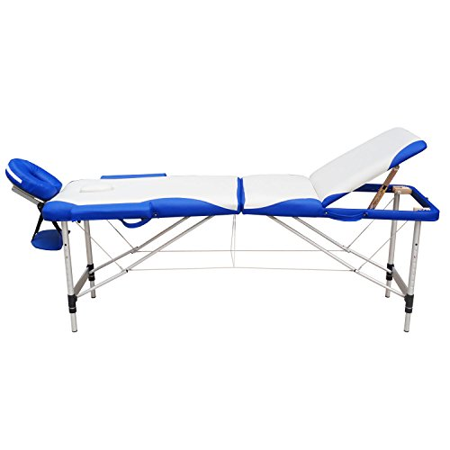 Massage Tables – WELLHOME Portable Massage Table Facial SPA Tattoo Bed Aluminium 3 Section with Free Oxford Carring Bag, Cream & Blue