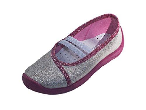 Mädchen Hausschuhe Ballerinas, Klettverschluss, Verschiedene Farben, Gr. 26 bis 33 Agata/Silber