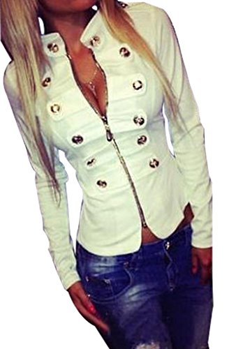 Sexy Buckle (Easy Womens Fashion Sexy Zipper Metal Buckle Stand Up Collar Short Jacket)