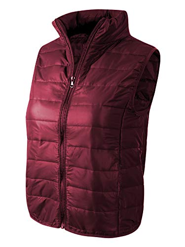 Puffer Neck - Instar Mode Women's Casual Lightweight High Neck Puffer Vest Burgundy M