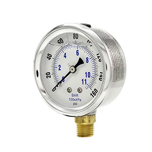 2.5 Inch Dial Gauge - PIC Gauge PRO-201L-254F Glycerin Filled Industrial Bottom Mount Pressure Gauge with Stainless Steel Case, Brass Internals, Plastic Lens, 2-1/2