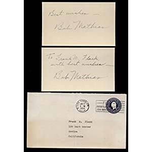 (2) Bob Mathias Vintage Signed 3x5 Index Cards College Cut Signatures