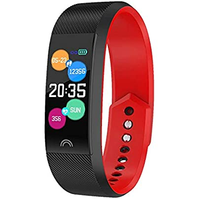 Bluetooth Smart Bracelet Heart Rate Blood Pressure Message Reminder Wristband Oxygen Monitoring Smart wear Color Red Estimated Price -